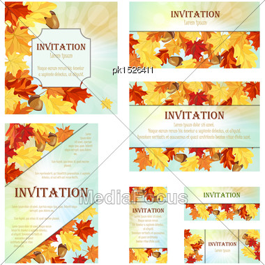 Set Of Invitation Cards In Different Size And Formats. Elegant Autumn Design With Maple And Oak Leaves And Acorns Over Sky Background With Beams Of Sun. Vector Illustration Stock Photo