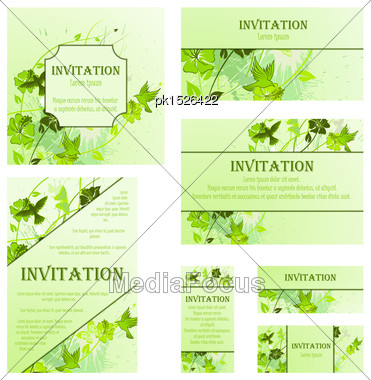 Set Of Invitation Cards In Different Size And Formats. Elegant Spring Design With Flowers, Butterflies And Birds Over Grunge Green Background With Ink Blots. Vector Illustration Stock Photo