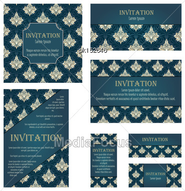 Set Of Invitation Cards In Different Size And Formats. Elegant Royal Damask Rococo Style With Text Space. Vector Illustration Stock Photo