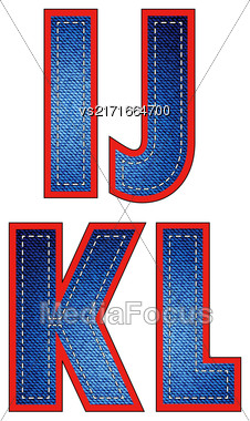Set Of Jeans Letters Isolated On White Background Stock Photo
