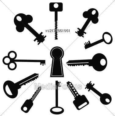 Set Of Keys Icons Isolated On White Background Stock Photo