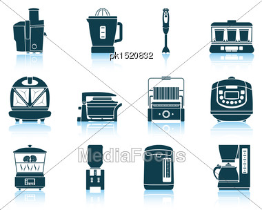 Set Of Kitchen Equipment Icons. EPS 10 Vector Illustration Without Transparency Stock Photo