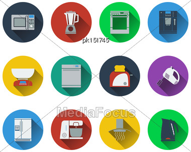 Set Of Kitchen Equipment Icons In Flat Design. EPS 10 Vector Illustration With Transparency Stock Photo