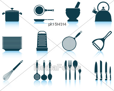 Set Kitchen Utensil Icon. EPS 10 Vector Illustration Without Transparency Stock Photo