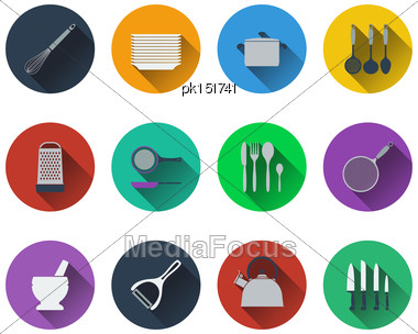 Set Of Kitchen Utensil Icons In Flat Design. EPS 10 Vector Illustration With Transparency Stock Photo