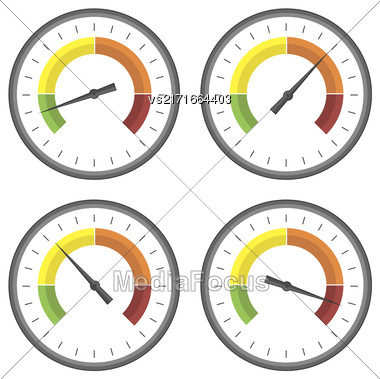 Set Of Manometer Icons On White Background. Different Gauge Readinngs Stock Photo