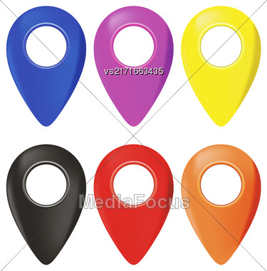 Set Of Map Marker Pin Icons Isolated On White Background Stock Photo