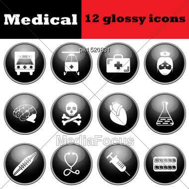 Set Of Medical Glossy Icons. EPS 10 Vector Illustration Stock Photo