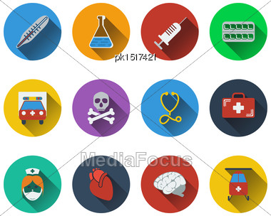 Set Of Medical Icon In Flat Design. EPS 10 Vector Illustration With Transparency Stock Photo