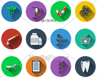 Set Of Medical Icons In Flat Design. EPS 10 Vector Illustration With Transparency Stock Photo