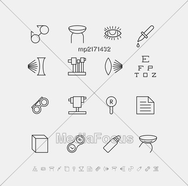 Set Of Medical Icons For Ophthalmology. Vector Flat Illustration Stock Photo
