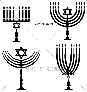 Set Of Menorah Silhouettes Isolated On White Background Stock Photo