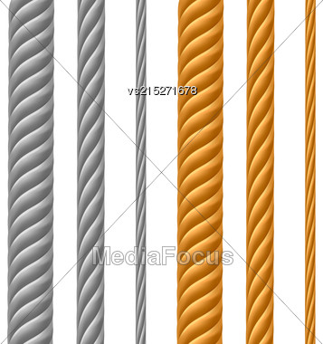 Set Of Metal Cables Isolated On White Background Stock Photo
