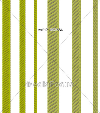 Set Of Metal Cables Isolated On White Background. Nautical Rope Stock Photo