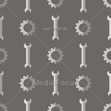 Set Of Metallic Wrench Grey Seamless Pattern. Industrial Tool Background Stock Photo
