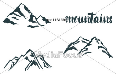 Set Mountain Hand Hrawn Hogo. Vector Design Element In Vintage Style For Logotype, Label,tag, Badge And Other. Mountain Logo, Symbol, Icon In Retro Style Stock Photo