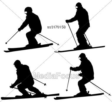 Set Mountain Skier Speeding Down Slope. Vector Sport Silhouette Stock Photo