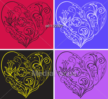 Set Of Multi-colored Filigree Hearts On Colorful Backgrounds Stock Photo