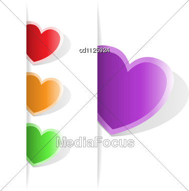 Set Of Multi-colored Hearts, To Which You Can Place Your Information Stock Photo