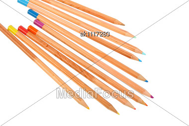 Set Of Multicolored Wood Pencils. Close-up Stock Photo