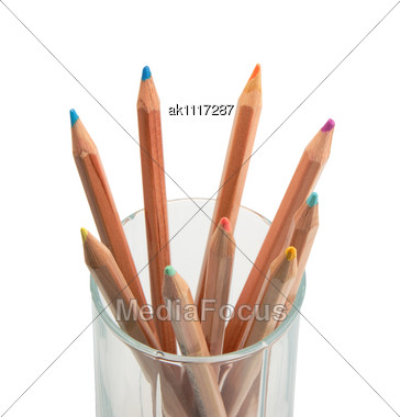Set Of Multicolored Wood Pencils In Glass. Close-up Stock Photo