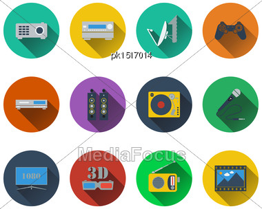 Set Of Multimedia Icons In Flat Design. EPS 10 Vector Illustration With Transparency Stock Photo