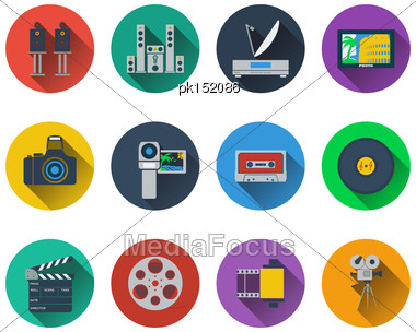 Set Of Multimedia Icons In Flat Design Stock Photo