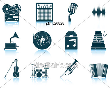 Set Of Musical Icons. EPS 10 Vector Illustration Without Transparency Stock Photo