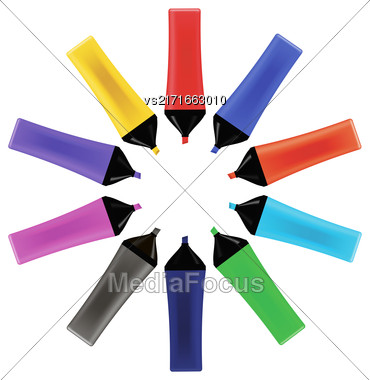 Set Od Colorful Markers Isolated On White Background. Office Tools Stock Photo