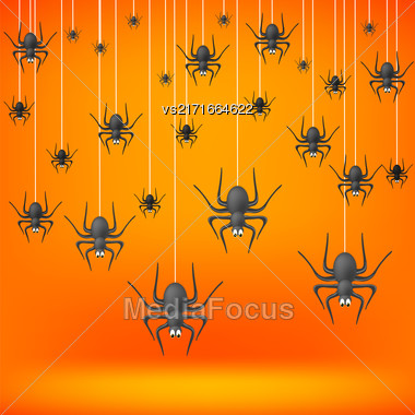 Set Od Grey Spiders Fall Down On Soft Orange Background. Symbols Of Halloween Stock Photo