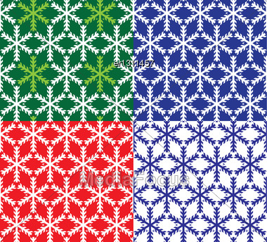 Set Of 4 Snowflakes Seamless Patterns Stock Photo