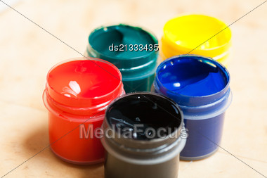 Set Of Five Paints Stock Photo