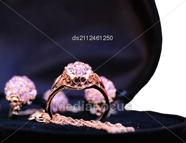 Set Of Gold Rings In Pack Stock Photo