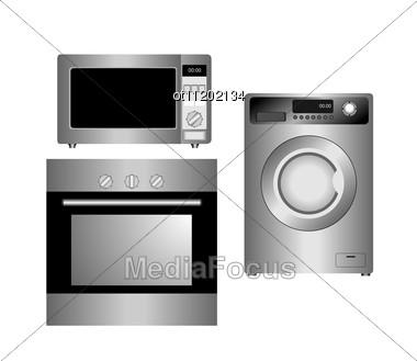 Set Of Household Appliances. Vector Illustration. Stock Photo
