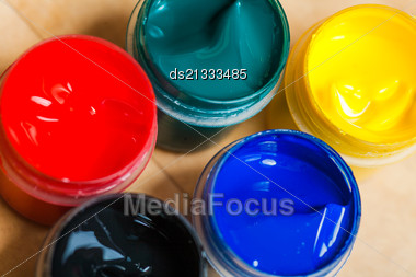 Set Of Paints Closeup View Stock Photo