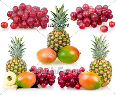 Set Of Pineapple, Mango And Grapes Stock Photo