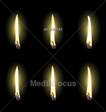 Set Of Realistic Flames Are Stock Photo