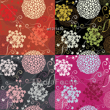 Set Of Seamless Patterns - Floral Backgrounds Stock Photo