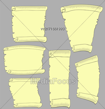 Set Of Old Papers . Antique Scroll On Grey Background Stock Photo