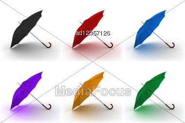 Set Of Open Classic Color Umbrella Stick Stock Photo