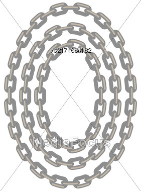 Set Of Oval Chain Frames Isolated On White Background Stock Photo