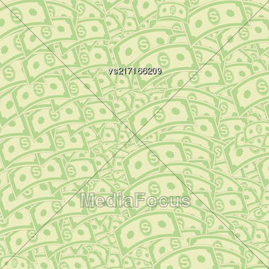 Set Of Paper Dollars Pattern. American Banknotes. Cash Money. US Currency Stock Photo