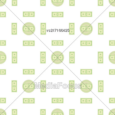 Set Of Paper Dollars Seamless Pattern On White Background. American Banknotes. Cash Money. US Currency Stock Photo