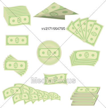 Set Of Paper Dollars Isolated On White Background. American Banknotes. Cash Money. US Currency Stock Photo
