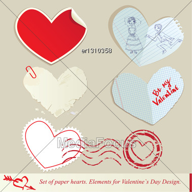 Set Of Paper Hearts. Elements For Valentine`s Day Design Stock Photo