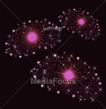 Set Of Pink Fireworks Isolated On Black Background Stock Photo