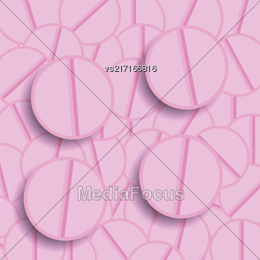 Set Of Pink Pills. Medical Pink Backgrpound Stock Photo