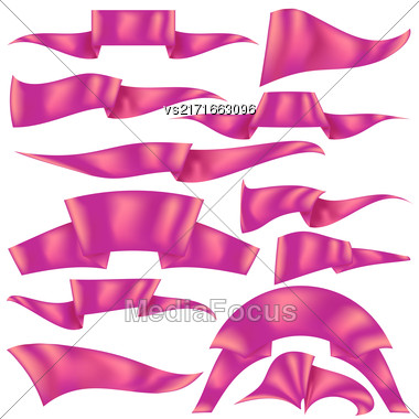 Set Of Pink Ribbons Isolated On White Background. Flag Collection Stock Photo
