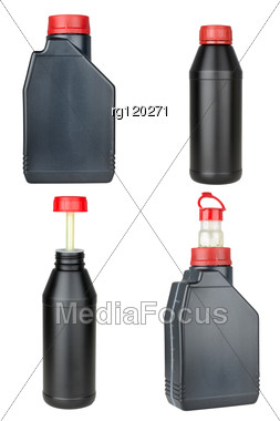 Set Of Plastic Bottles With Automobile Oil Stock Photo