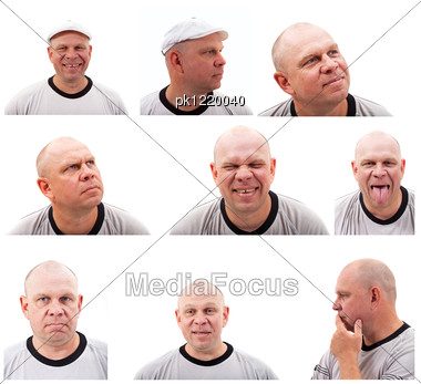 Set Of Portrait Images Of Middle Aged Man Stock Photo